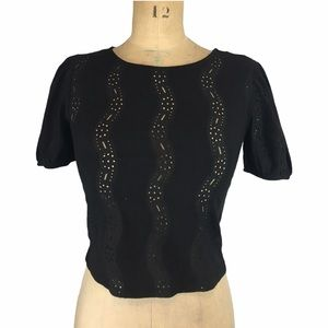 Zara Black Top with Lace Detail Size S
